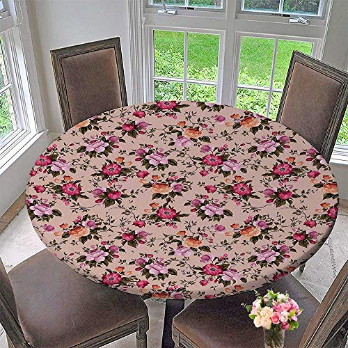 Mikihome Round Table Tablecloth Floral Pattern with Roses Twig Warm Colors Flower Arrangement Bouquets for Wedding Restaurant Party 31.5