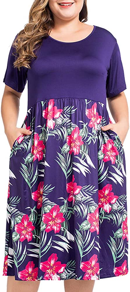 NUONITA Womens Plus Size Dresses Round Neck Floral Print Dress with Pockets