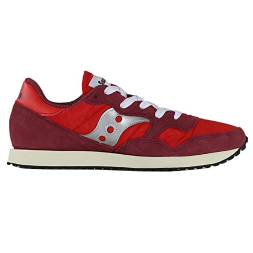 Saucony DXN Vintage S703697 Red Silver Mens Suede Nylon Low Top Trainers