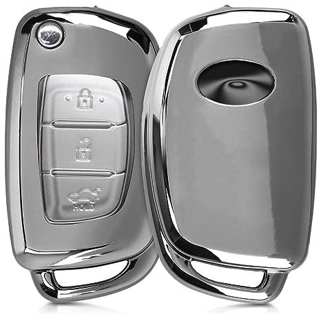 kwmobile Funda para Llave Plegable de 3 Botones para Coche Hyundai - Carcasa [Suave] de [TPU] para Llaves - Cover de Mando y Control de Auto en ...