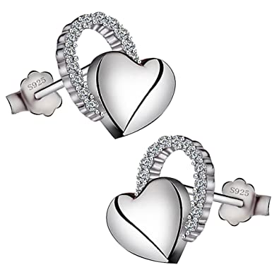 Viyino Ladies Jewellers 925 Sterling Silver Black Paint Heart Studs Earrings Cubic Zirconia for Women