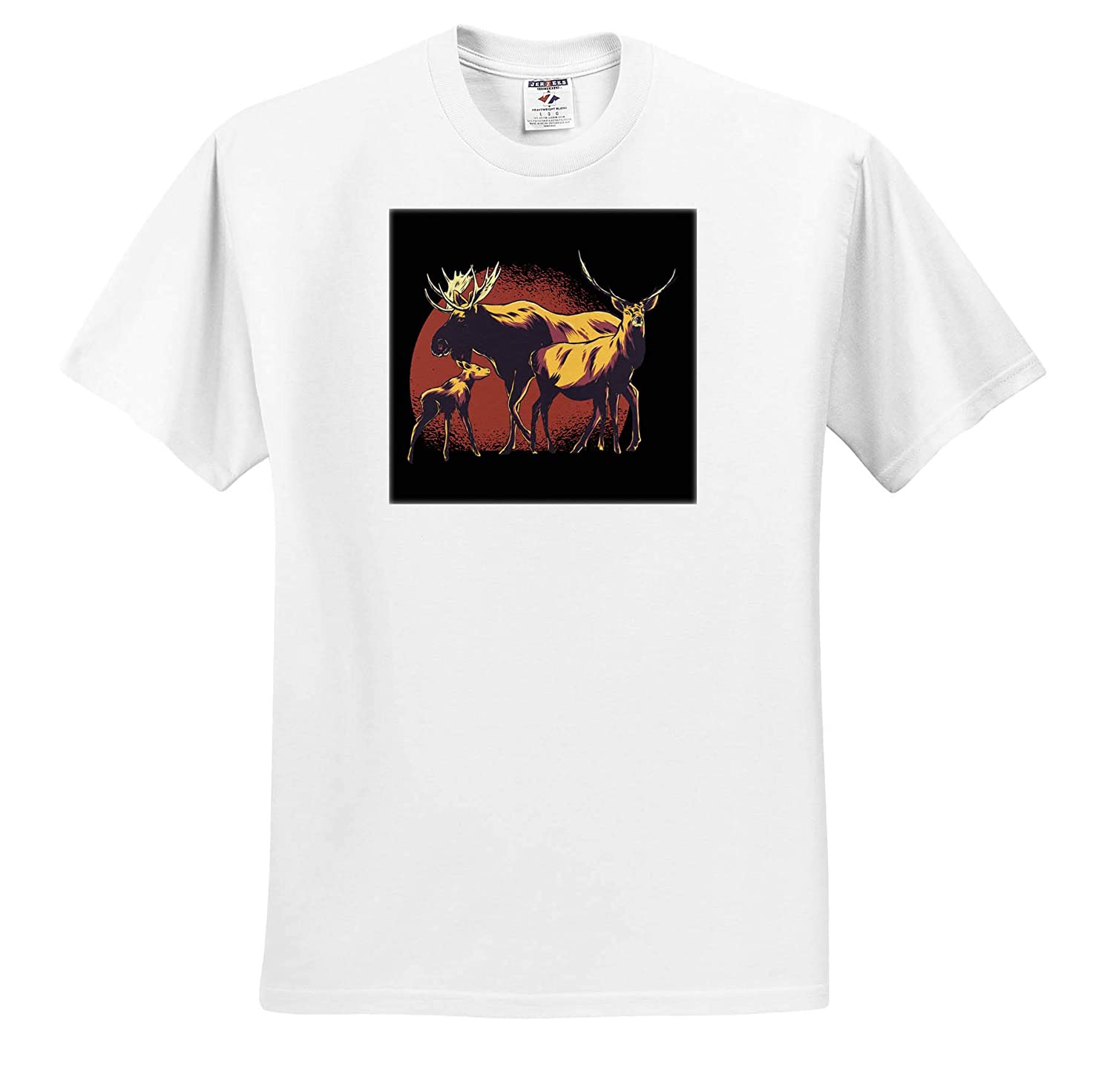 Graphic with Three Deers Wildlife with Red Circle Background 3dRose Sven Herkenrath Nature Adult T-Shirt XL ts/_316109