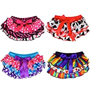 juDanzy Satin baby ruffle bloomers Diaper Covers in a Variety of colors & sizes (0-6 Months, 4-Pack)