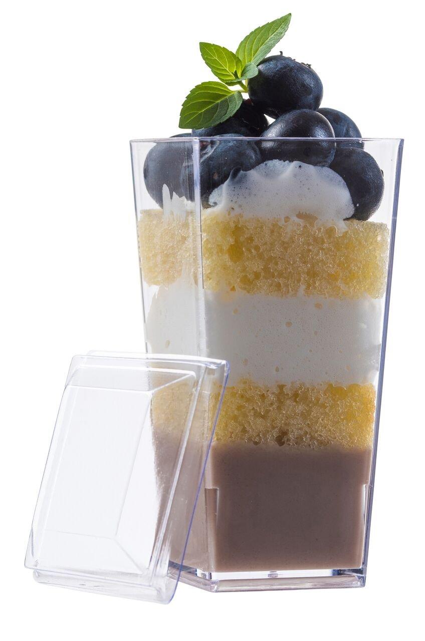Zappy Elegant Tall Square Mini Cube 3oz Clear Plastic Tasting Sample Shot Glasses Parfait Souffle Jello Mini Dessert Cups Dessert Glasses 3 oz Shooter Tumbler Party Cups Bowls ''With Lids'' (40 Ct)