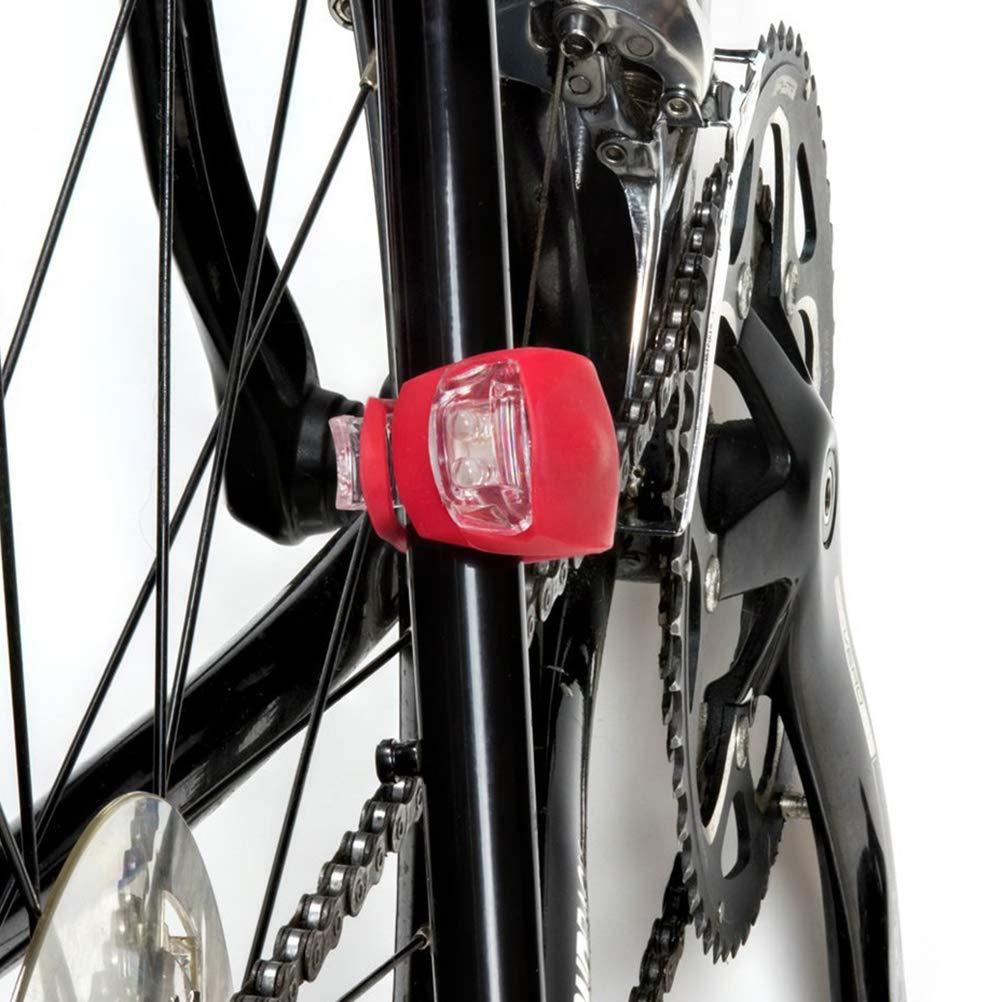 LIOOBO 4pcs Bicicleta luz de Silicona led Bicicleta luz Resistente al Agua Faro luz Trasera