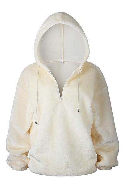 53ddeff16a3 Women Hoodie Sweatshirt Fleece Casual Fuzzy Pullover Sweater Top Beige S