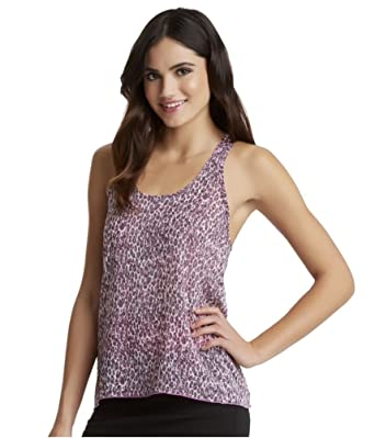 3284be0a2222 Aeropostale Womens Aria Sheer Cheetah Chiffon Tank Top Pink XS - Juniors
