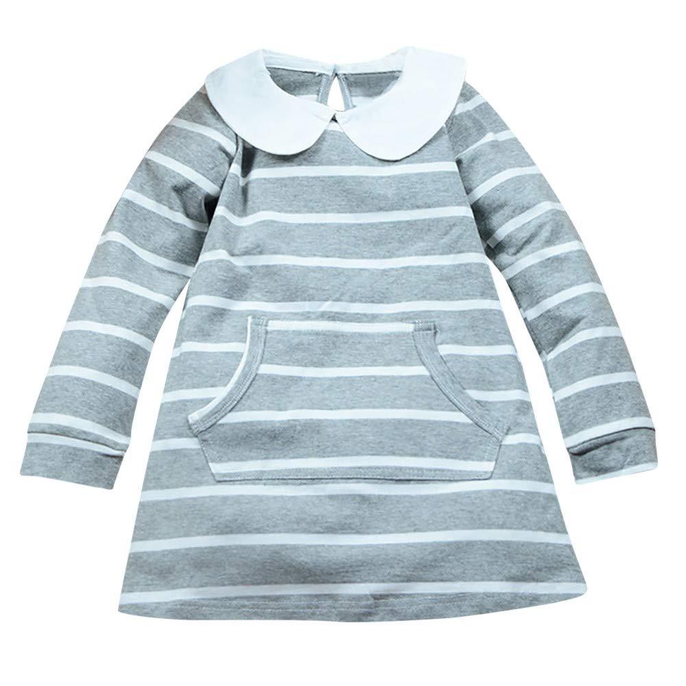 ❤ Modaworld Vestidos Bebé Niña, Vestido de Princesa de Mangas largas con Estampado a Rayas para niños pequeños Bebés Niñas Vestido de Fiesta 12 Mes - 5 ...