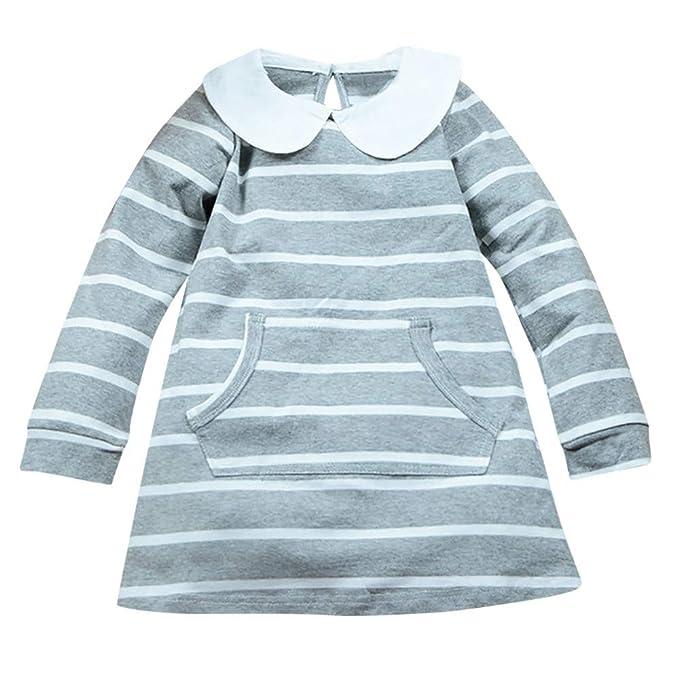Modaworld Vestidos Bebé Niña, Vestido de Princesa de Mangas largas con Estampado a