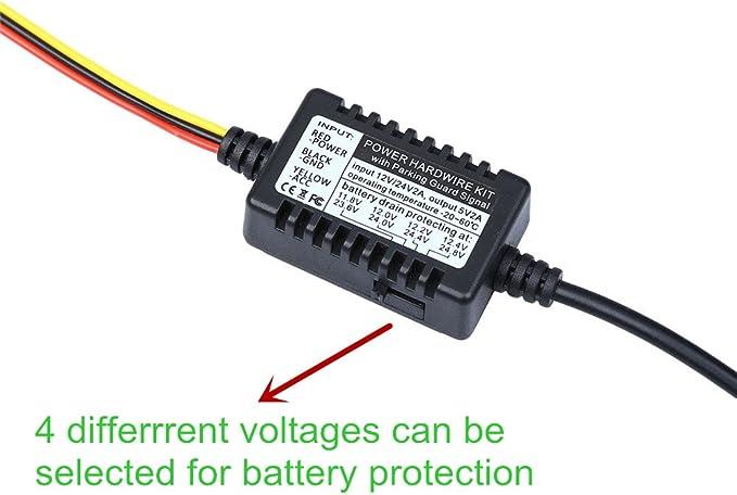 Blueskysea Universal Micro USB Hardwire Kits 12V to 5V Power Adapter Cable with Fuse Compatible Car Dash Camera Mini 0906 B1W