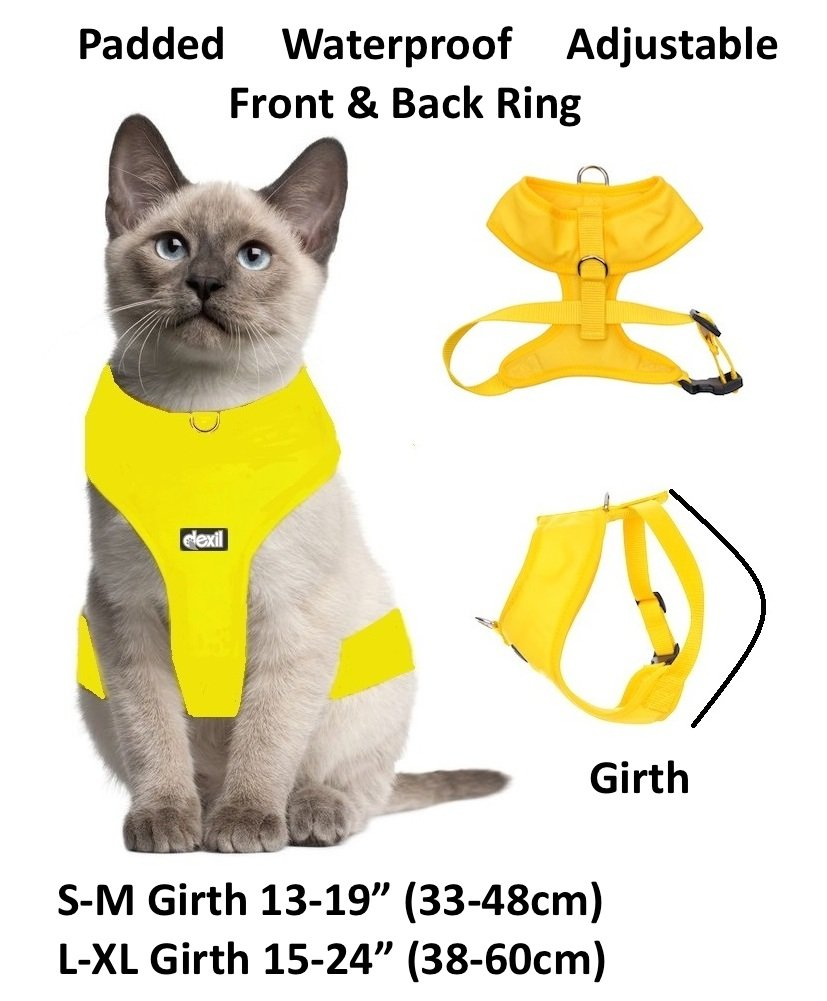 Dexil Cat Harness Padded and Water Resistant Yellow S-M