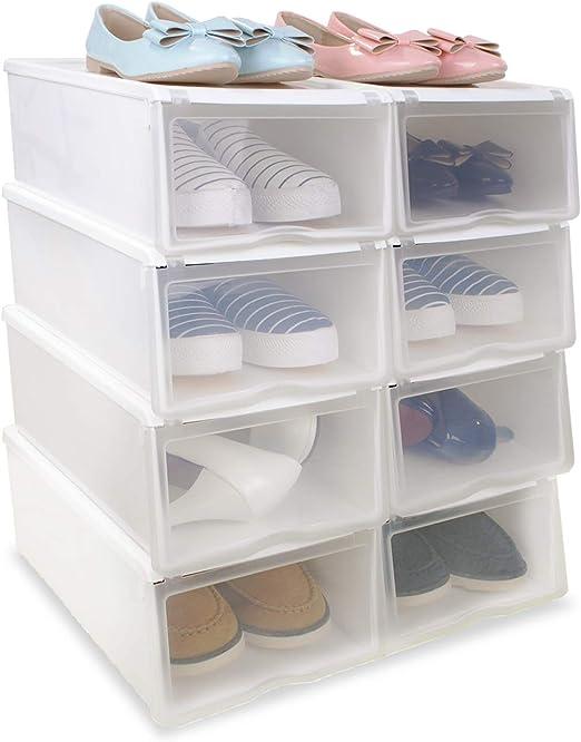 8x Cajas Organizadoras Apilables Anti-manchas Transparentes para Zapatos, Conjunto de Estantes Zapateros Desmontables Amontonables de Almacenamiento de Plástico Reforzado, 33x22x14cm, Color Blanco: Amazon.es: Hogar