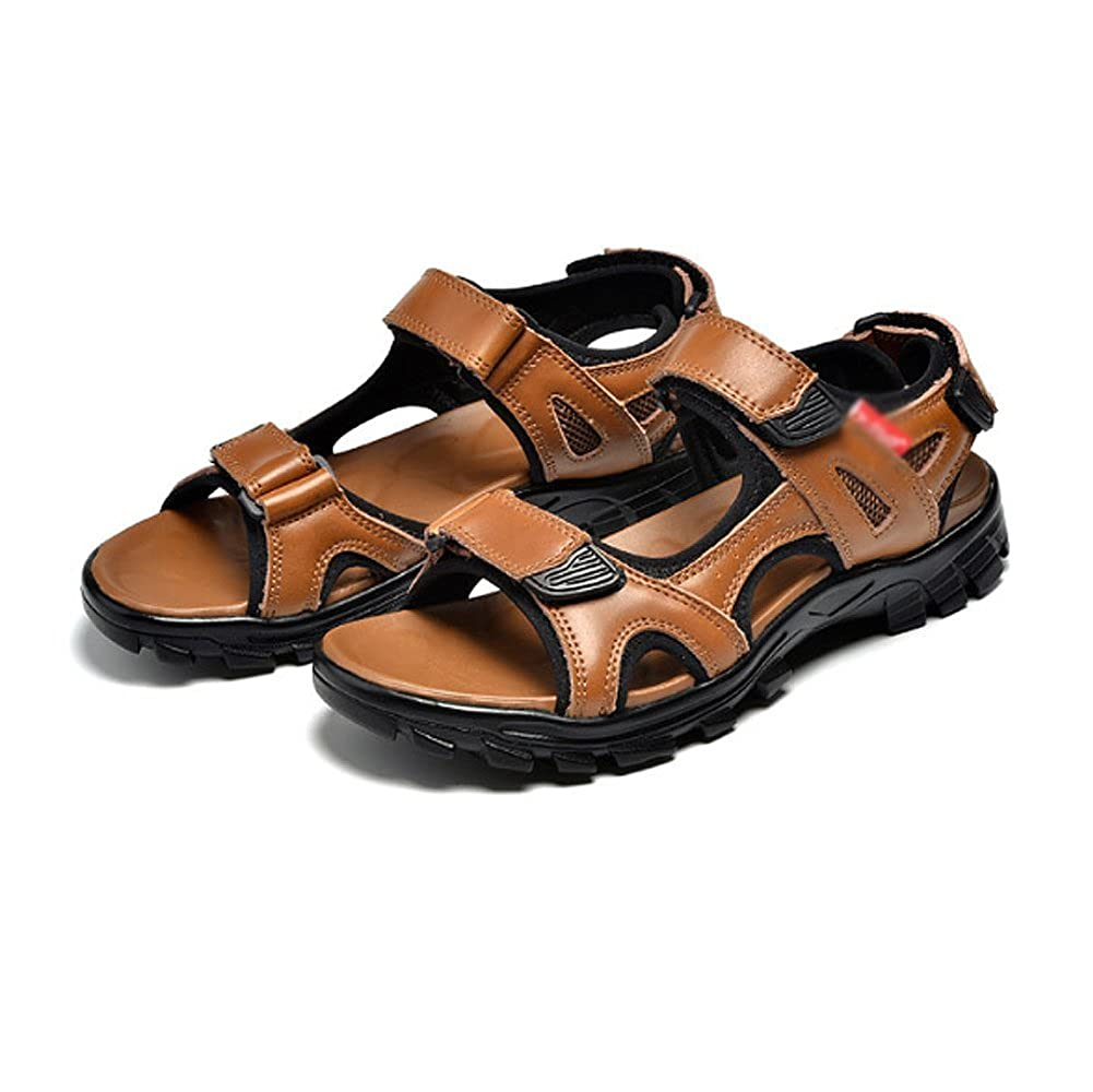 NIUWJ Breathable Männer Jugend Casual Sandalen Mode Breathable NIUWJ Beach Sommer Hausschuhe YellowBraun e530c9