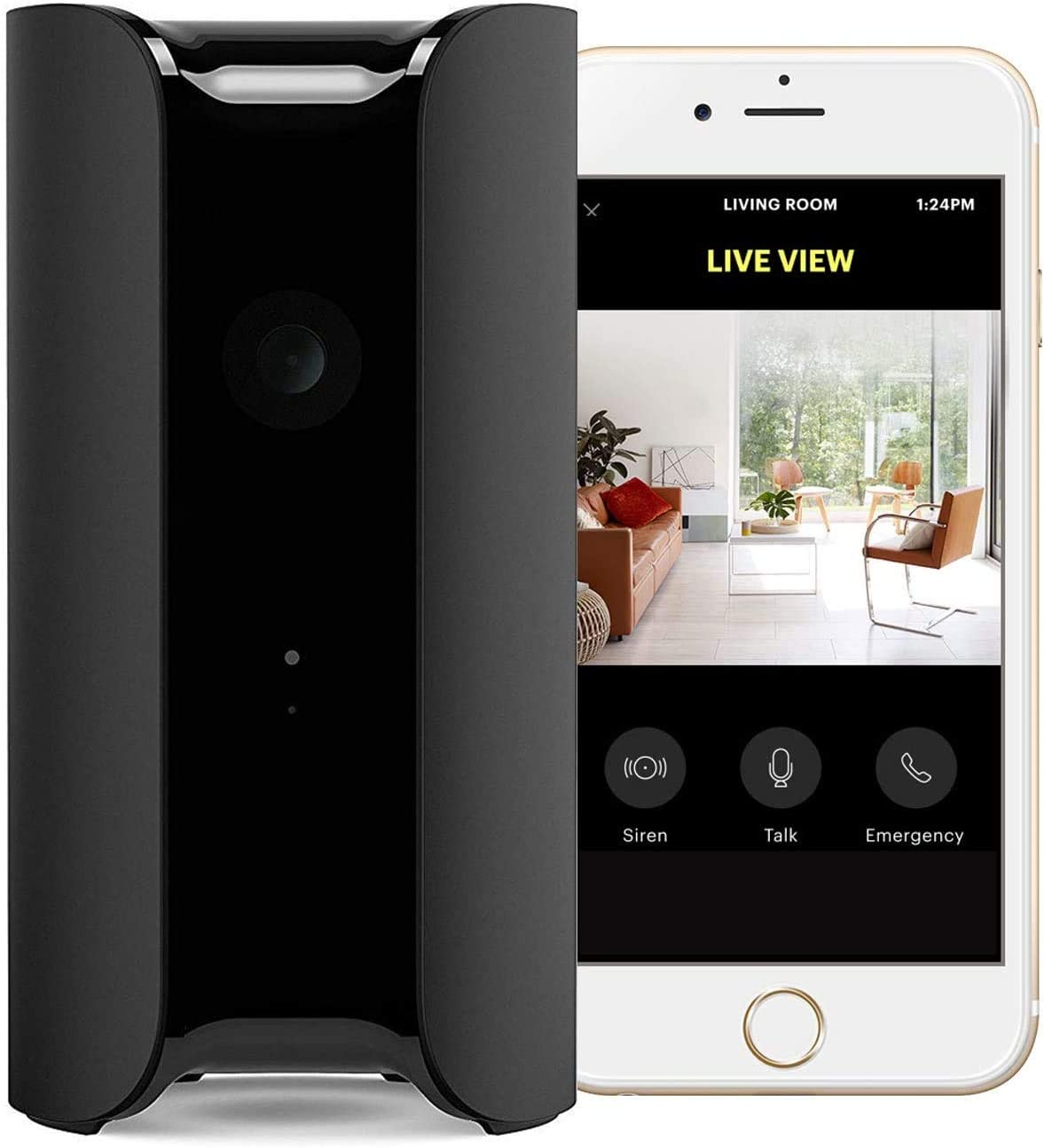 Canary View Smart Indoor Security Camera + 1-Year Premium Service Plan |1080p HD Wide-Angle Lens | Motion-Activated Alerts. Alexa, iOS, Android, Google, Black