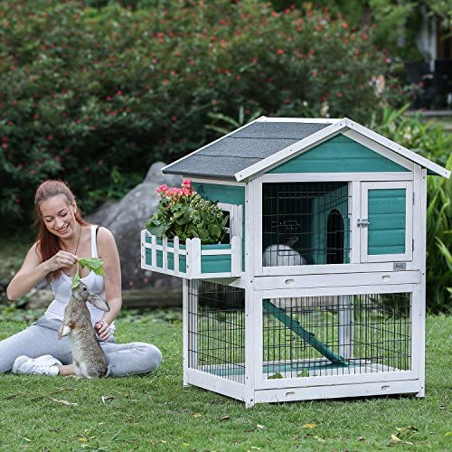 Amazon Com Petsfit 42 5 X 30 X 46 Inches Bunny Cages Outdoor Rabbit Hutch Kitchen Dining