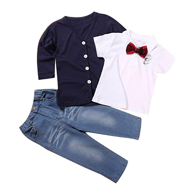 c5236a92e Amazon.com: ZLOLIA Baby Clothes Autumn Winter Kids Baby Boy Long Sleeve T  Shirt Coat Pants Jeans Outfits (2T, Navy): Home & Kitchen