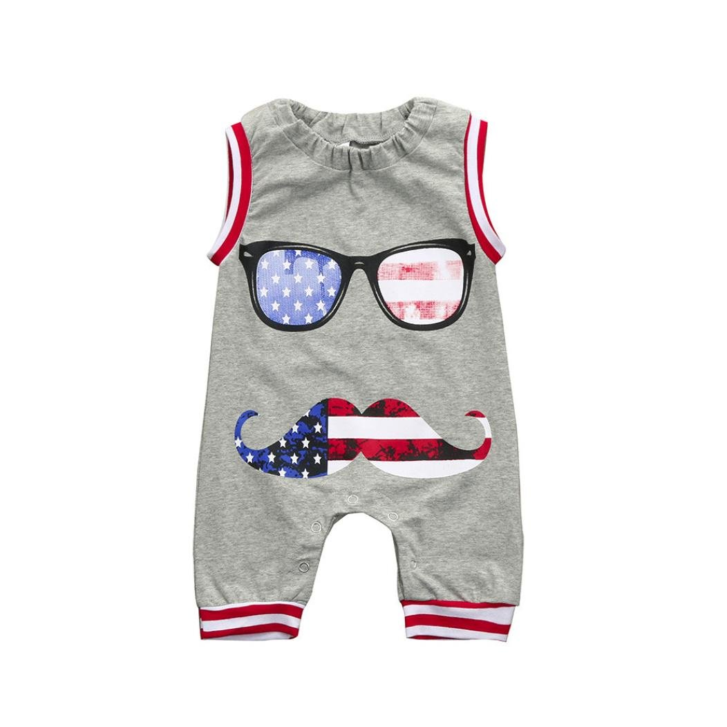 Pollyhb Baby Boy Romper, Kids Glasses Beard Print 4th of July Jumpsuit Glasses Clothes Outfits(0-24 Months) (12-18 Months, Gray)