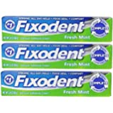 Fixodent Complete Fresh Mint Denture Adhesive Cream 2.4 Oz (Pack of 3)