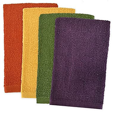 DII 100% Cotton, Machine Washable, Ultra Absorbent, Everyday Kitchen Basic, Utility, Bar Mop Dishtowel 16 x 19  Set of 4- Warm