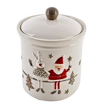 Porzellan Weihnachten.Dadeldo Home Vorratsdose Santa Hirsch Design Porzellan Weihnachten 17x13x13cm