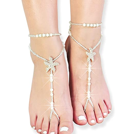 ae477956e009a5 Amazon.com  Fine Lady Beaded Beach Wedding Barefoot Sandals