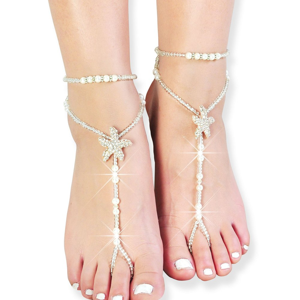 Fine Lady Beaded Beach Wedding Barefoot Sandals,Bridal Bangle Wedding Bangles,Pool Party Accessories One Size