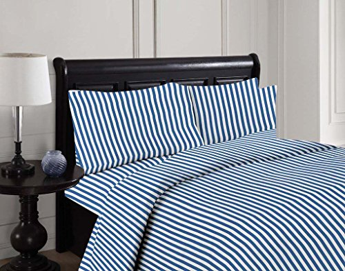 King size Printed striped 4 Piece Bed Sheet set brushed microfiber1800 Bedding - Wrinkle, Fade, Stain Resistant - Hypoallergenic -(King, blue) By United - Outlets Jersey Shopping