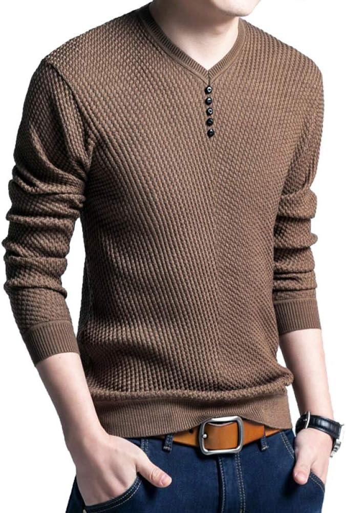 HOSD Sweater Hombres Casual Jersey con Cuello en V Hombres Otoño Camisa de Manga Larga Delgada Suéteres para Hombre Color de Punto M: Amazon.es: Ropa y accesorios