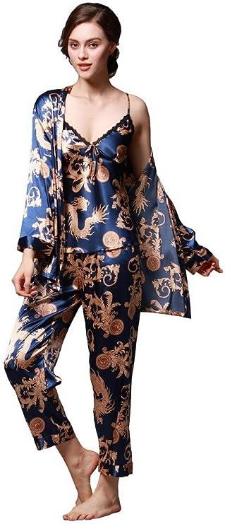 Lachi Pigiami Donna 5 Pezzi in Seta Vestaglia Raso serico Canotta da Notte di Pizzo Pantaloni Patchwork Set di Pigiami