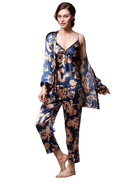 Evedaily - Pijama Entero - para Mujer Azul Azul Oscuro