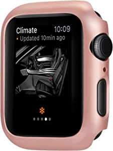 Leotop Compatible with Apple Watch Series 6 5 4 SE Case 44mm 40mm, Super Thin Bumper Protector PC Hard Cover Lightweight Slim Shockproof Accessories Matte Frame Compatible iWatch (Rose Gold, 40mm)