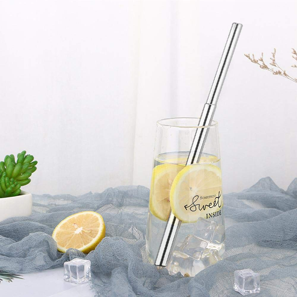 Black 1 Metal Straws Reusable 3Pcs//Set Stainless Steel Drinking Straw Telescopic with Cleaning Brush Case Travel