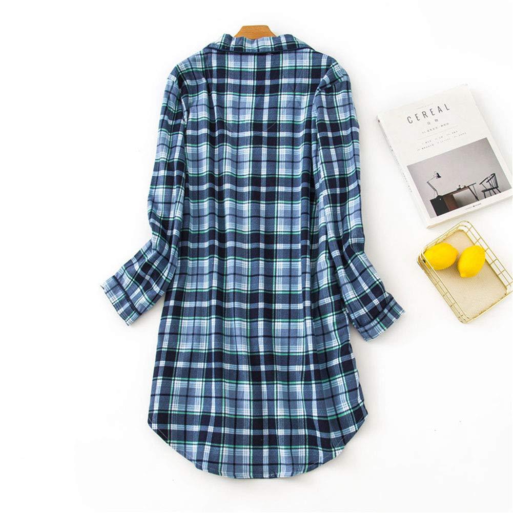 Pijama Mujer Algodon Invierno Manga Larga Ropa De Dormir Tallas Grandes Camison Botones Pijamas Camisones