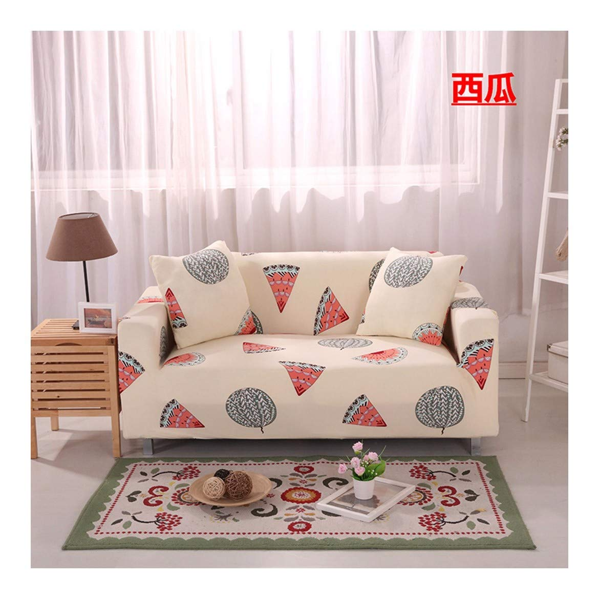 3seat VGUYFUYH Watermelon Pattern Four Seasons Universal Sofa Cover Polyester Full Package Elasticity Home Universal Sofa Cover Simple Fashion One Piece Durable Dust-Proof Pet Dog Predective Cover,3Sea