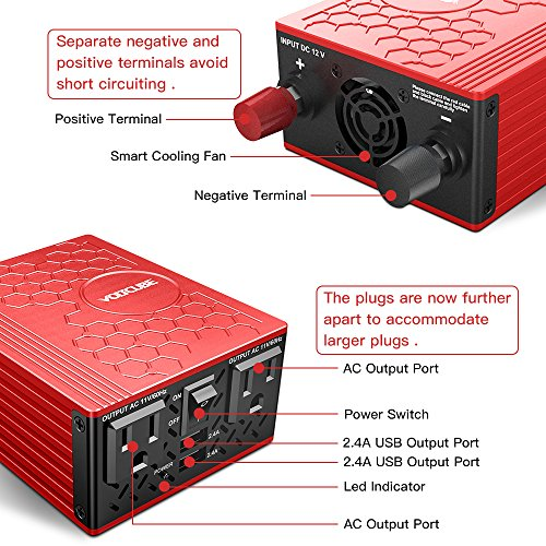 VOLTCUBE 400W Power Inverter, 12V DC to 110V AC Car Adapter with Twin 2.4A USB Ports and Two Independent AC Outlets (Red) by VOLTCUBE (Image #5)