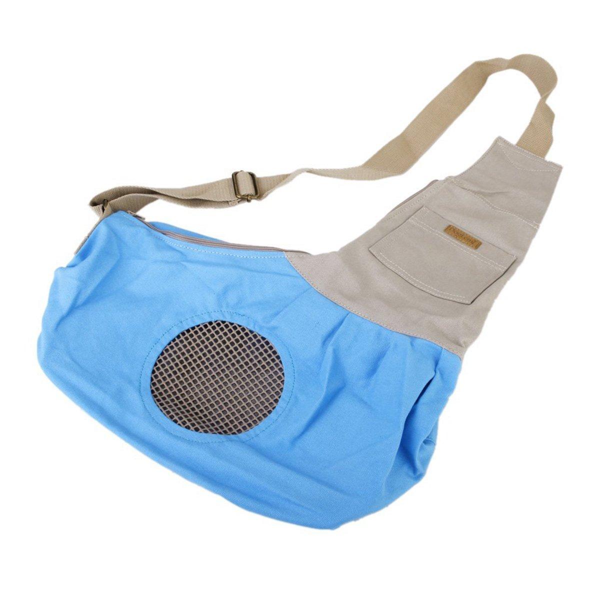 Tinksky Tiny Canvas Pet Dog Cat Carrier Sling Shoulder Bag Carrier Bag (Blue)