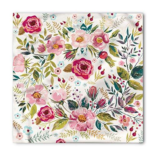 - Lunarable Unisex Bandana, Floral Flowers Roses Petals Dots, Magenta