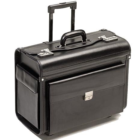 78751fd9b4 BORSE PILOTA Borsa da viaggio con ruote rullo trolley nero vera pelle XL