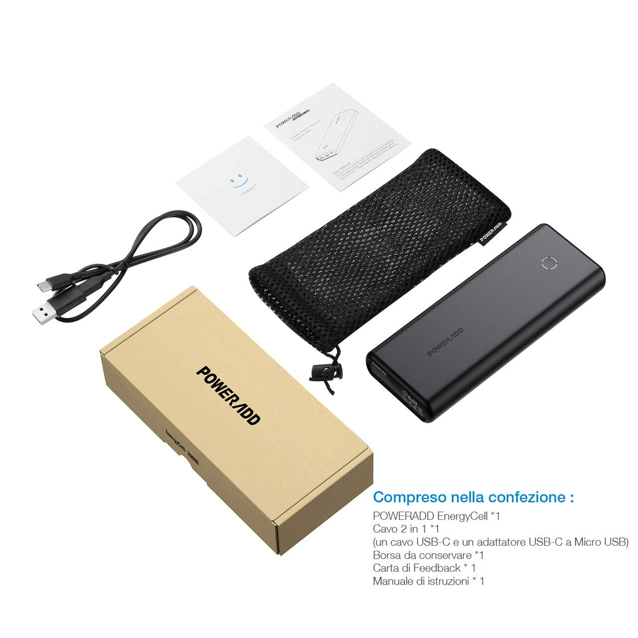 POWERADD Powerbank Caricabatterie Portatile 20000mAh Power Delivery con Porta TypeC (PD) e 2 Output USB (QC 3.0 per cellulari, Tablet e Altri dispositivi - (Un Cavo 2 in 1)
