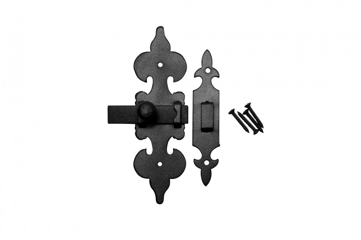 Cabinet Latch Wrought Iron Black Fleur De Lis 6'' | Renovator's Supply
