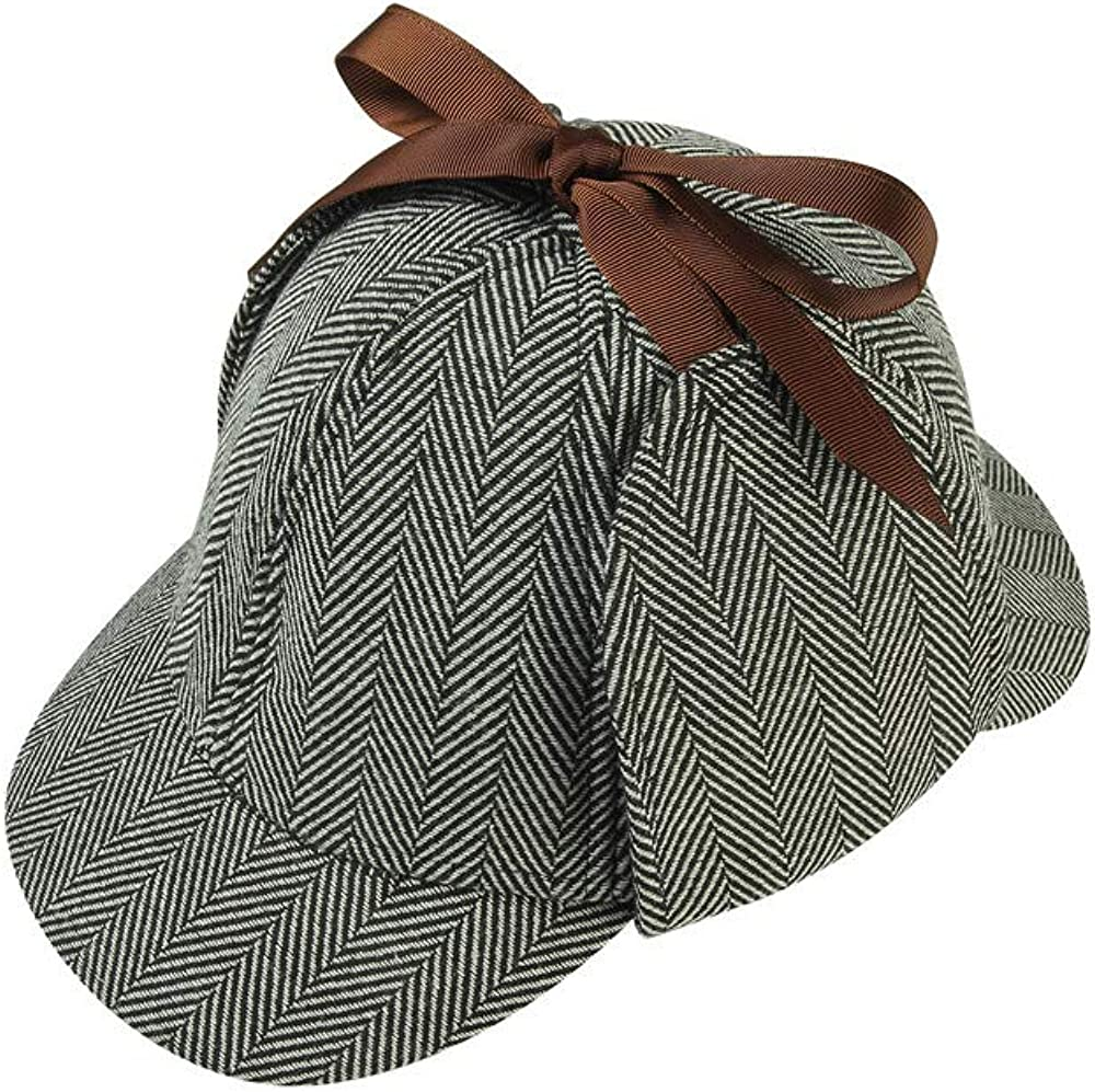 DUNHAO COS Mens Detective Grey Baseball Cap for Boys Hats