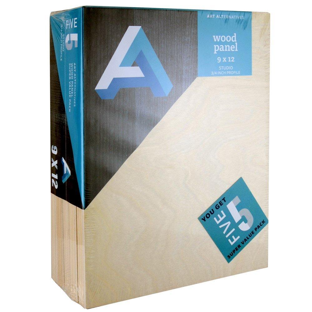 Art Alternatives Wood Panel Super Value 9x12 Pack of 5 by Art Alternatives
