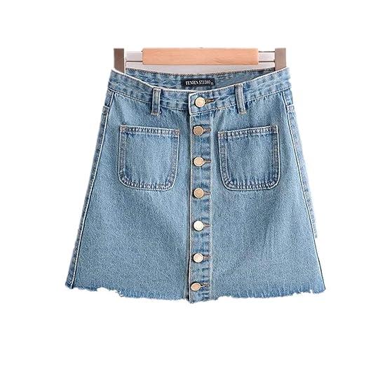 Deawecall Falda de WAIS Alta para Mujer Falda Mini A-Line Falda ...