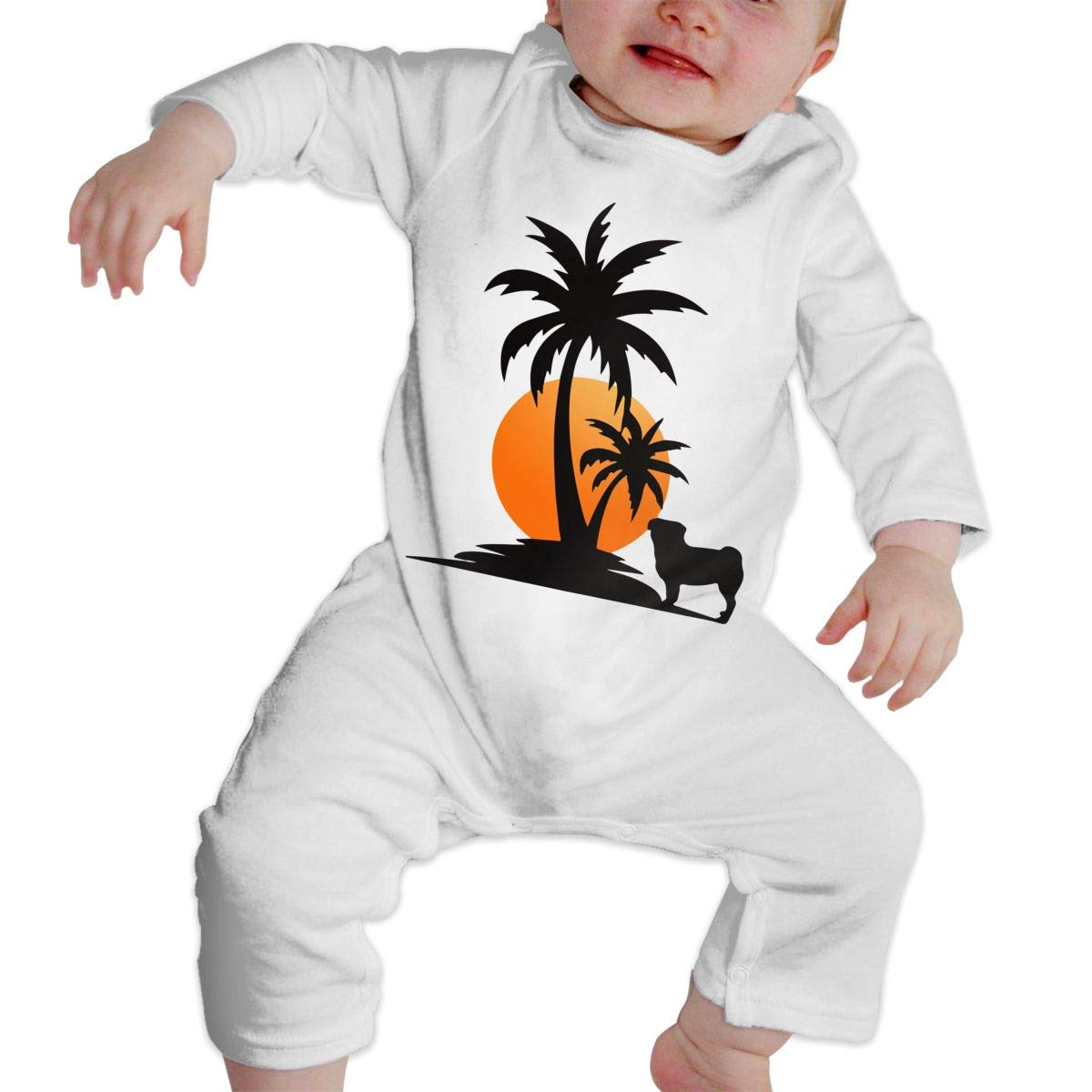 Pug Palm Sunset Baby Girl Long Sleeve Bodysuit Bodysuits