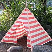 Modern Home Childrens Indoor/Outdoor Teepee Set with Travel Case - Pink Stripes