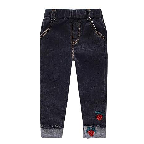 MAOMAHREWW - Pantalones vaqueros para niñas con bordado de ...