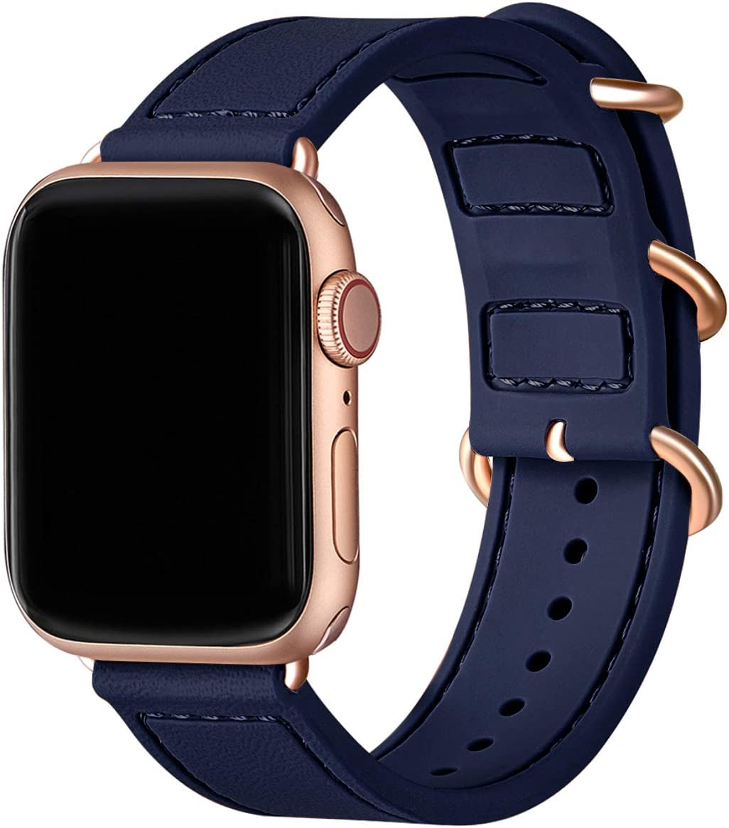 BesBand Compatible with Apple Watch Bands 44mm 42mm 40mm 38mm for Women Men,Soft Silicone Sport Strap Replacement Band for Apple Watch SE & iWatch Series 6/5/4/3/2/1 (Navy blue/Rose gold, 42mm 44mm)