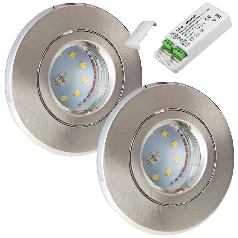 3 x 3W SMD LM Farbe Wei/ß IP54 LED Einbauleuchte Rain Rund 3000K Deckenspot LED Bad Einbaustrahler 12V inkl