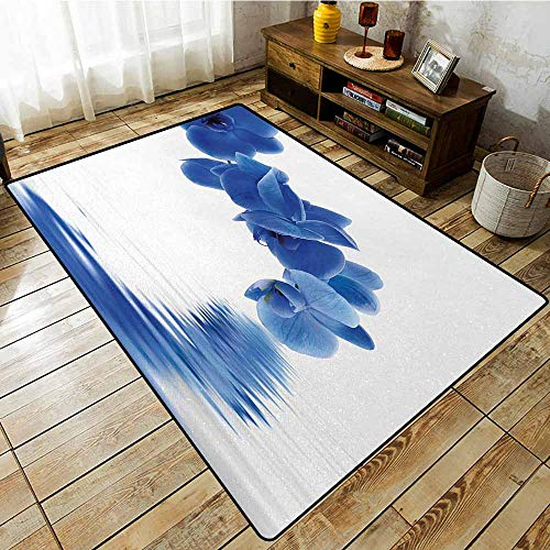 Outdoor Patio Rug,Blue Orchid Corsage Composition with Reflection in Water Zen Desgin Bridal Garden,Rustic Home Decor,6'6