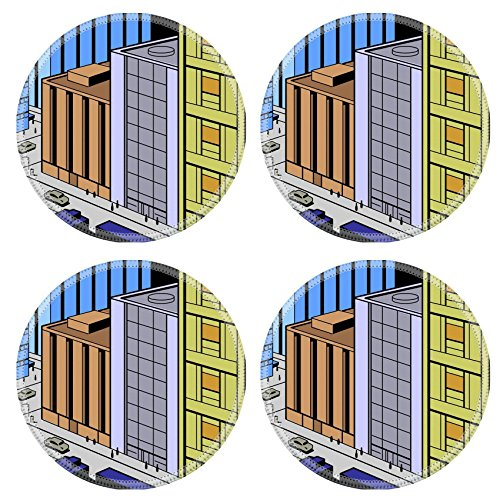 MSD Natural Rubber Round Coasters IMAGE 21536039 Retro Vintage City Street Scene for Comics and Animation